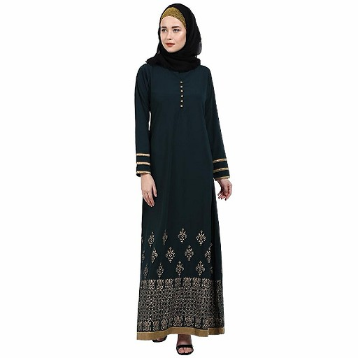 A-line abaya with Block prints- Bottle Green