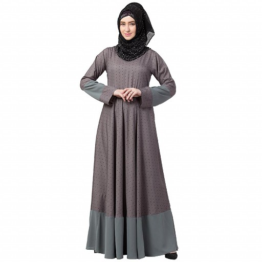 Polka dotted full flare abaya- Grey
