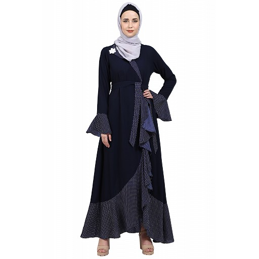 Designer abaya with Polka dotted frills- Navy Blue