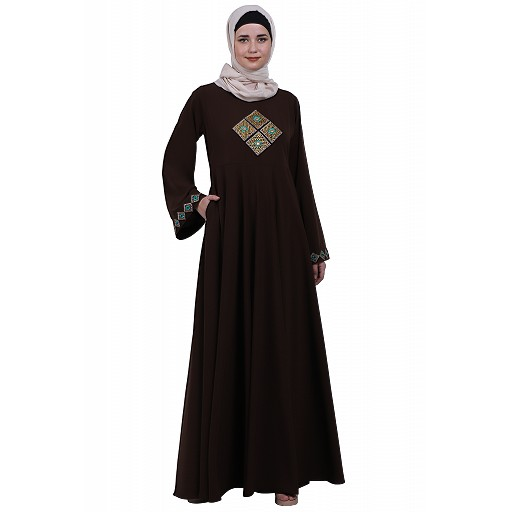 Emirates Umbrella abaya with embroidery work- Coffee Brown
