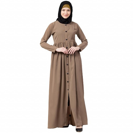 Front open abaya with pintucks- Beige