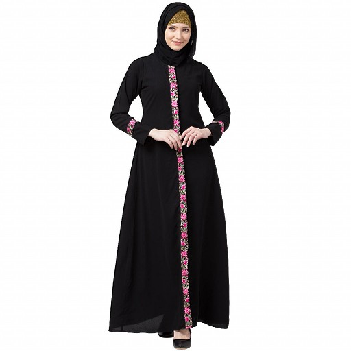 Elegant front open abaya with embroidery work- Black