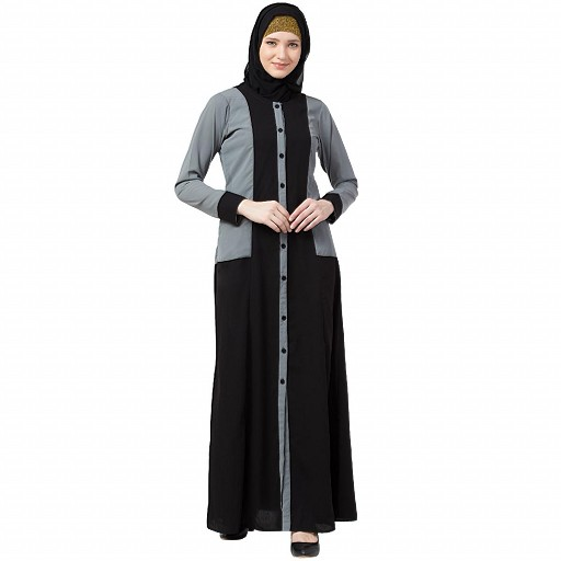 Dual colored front open abaya- Black-Grey