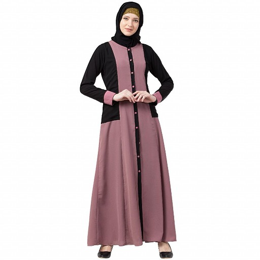 Dual colored front open abaya- Puce Pink-Black