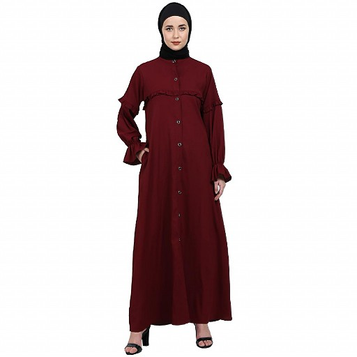 Front open classic frill abaya- Maroon
