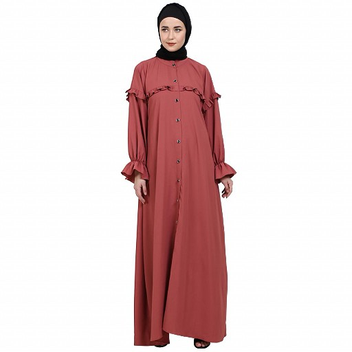 Front open classic frill abaya- Rose Bricks