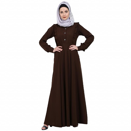 Umbrella abaya with frills- Coffee Brown