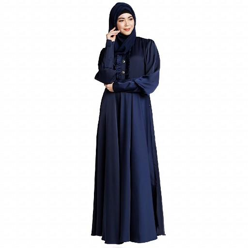 Umbrella abaya in shiny nida fabric- Navy Blue