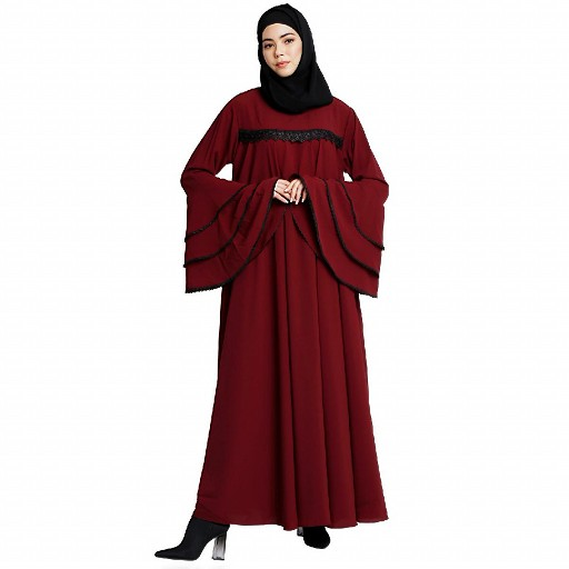 Loose Fit Umbrella abaya with bell sleeves- Maroon