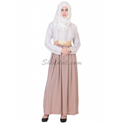 Abaya- Soft georgette skirt white top lace materials