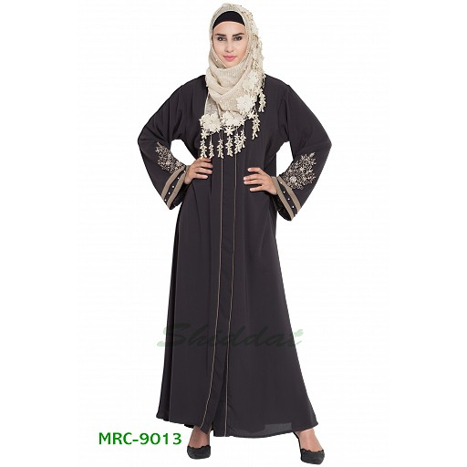Front open abaya with embroidery- Charcoal grey