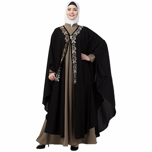 Double layered Irani Kaftan abaya- Black-beige