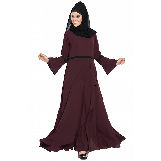 Umbrella cut Dress abaya- Wine color