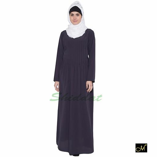 Abaya with pintuck style- dark grey
