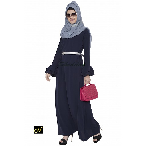 Islamic maxi dress- abaya in dark blue color