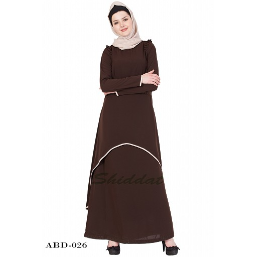 C Cut Abaya- Coffee Brown