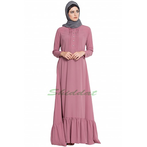 Frilled abaya dress with pin tucks- puce pink