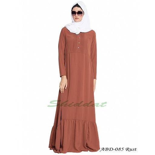 Frilled abaya dress with pin tucks- rust