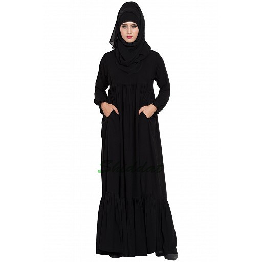 Polka dotted abaya dress- black