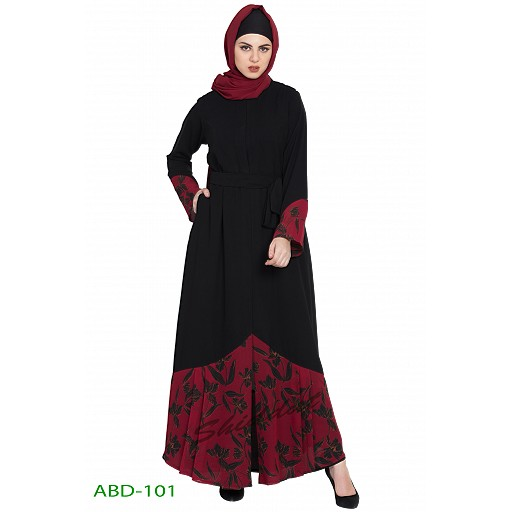 Front open abaya with printed panel
