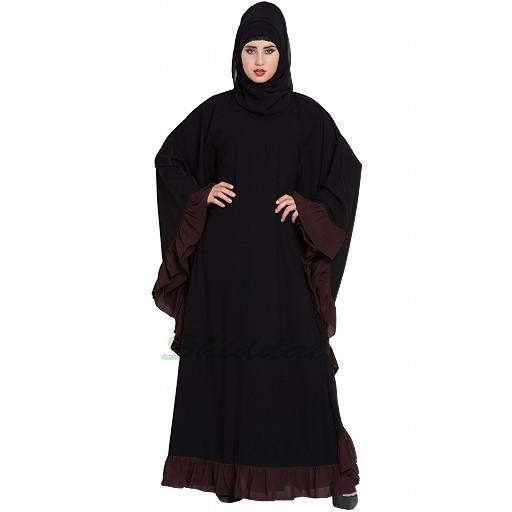 Designer Kaftan abaya with Ruffled border- Black