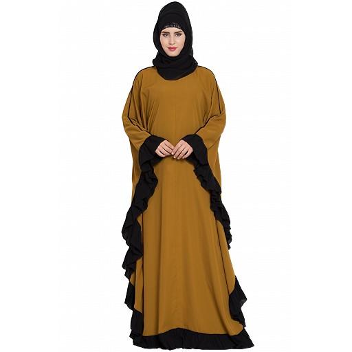 Designer kaftan abaya with Ruffled border- Golden Brown