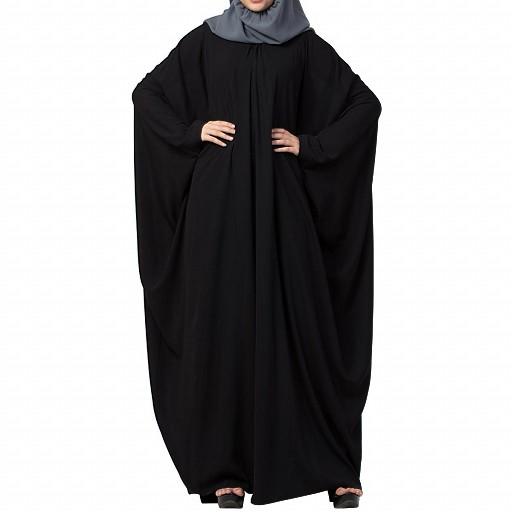 Kaftan abaya with pleats- Black color