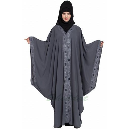 Dubai style designer Kaftan abaya- Grey