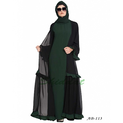 Double layer abaya with frills- Black-Green