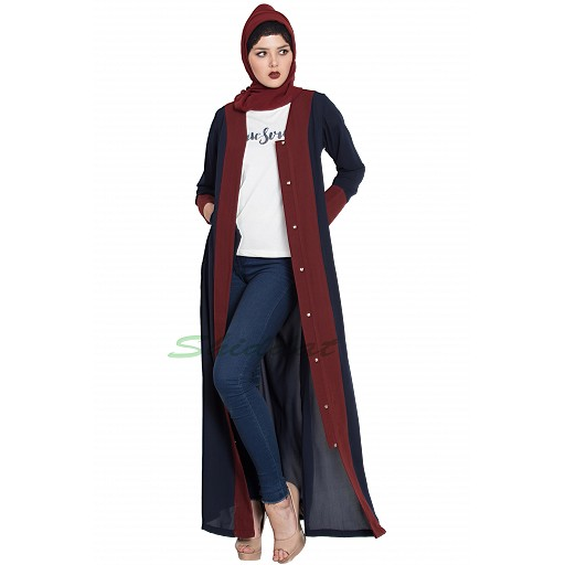 Long Cardigan front open abaya- Blue-Maroon