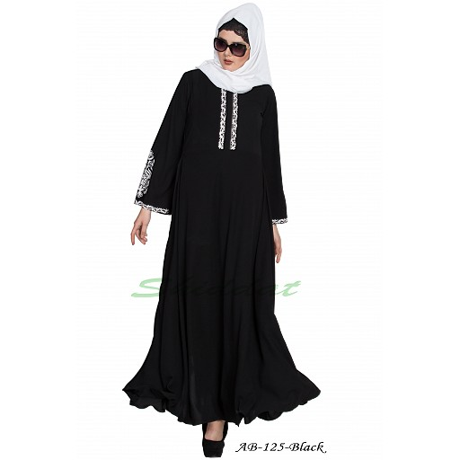 Umbrella cut abaya with Embroidery- Black