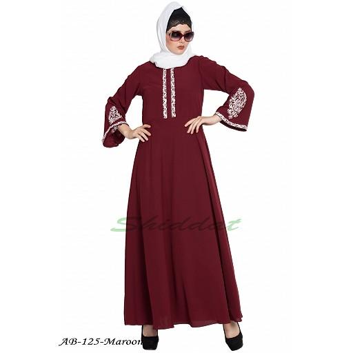 Umbrella cut abaya with Embroidery- Maroon
