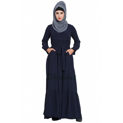 Designer abaya with Pintucks- Navy Blue