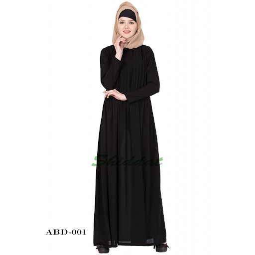 Dress abaya with pintuck- Black color