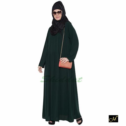 Pin-tuck abaya in Dark Green color