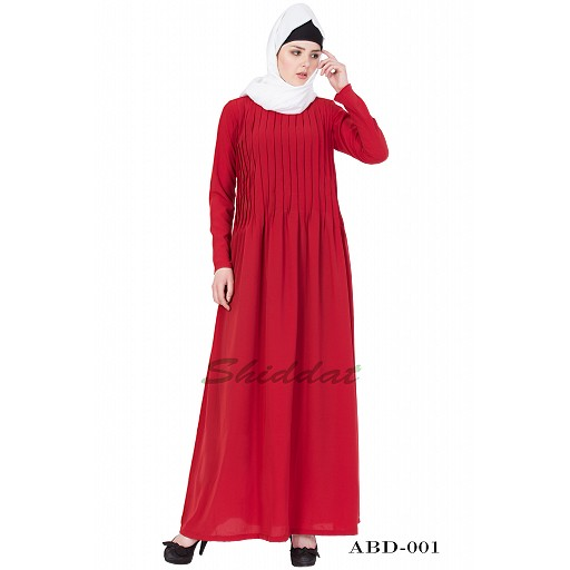 Designer abaya with pintuck- red