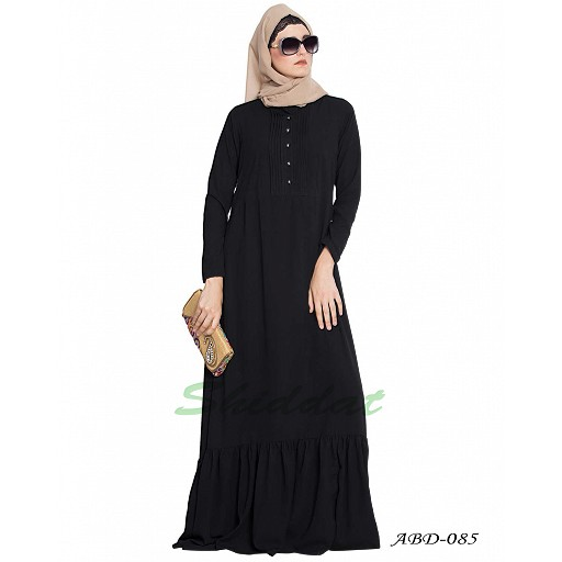 Frilled abaya dress with pintucks- black