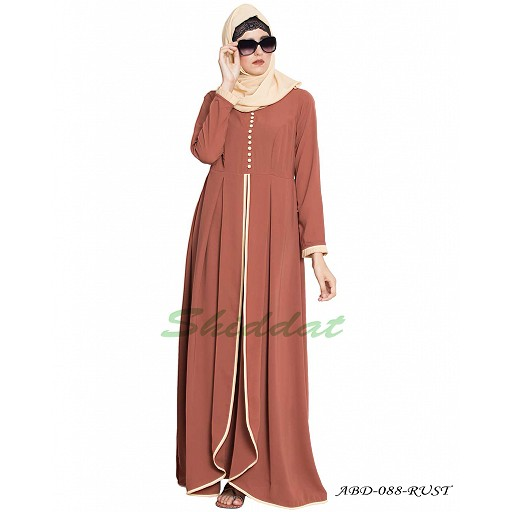 Multi layered abaya dress with frills- rust