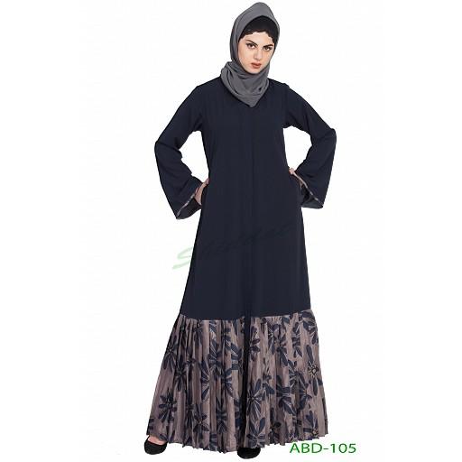Front open Dress abaya- blue-grey