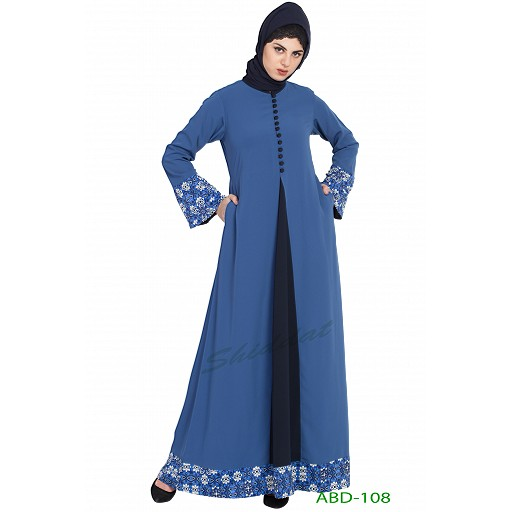 Casual abaya with floral borders- True Blue