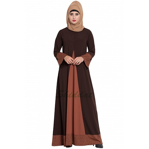 Casual abaya with floral borders- brown-rust