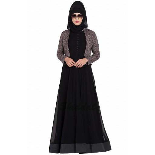 Designer double layered abaya with a Jacket combo- Black