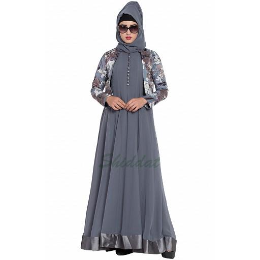 Designer double layered abaya with a jacket combo- grey