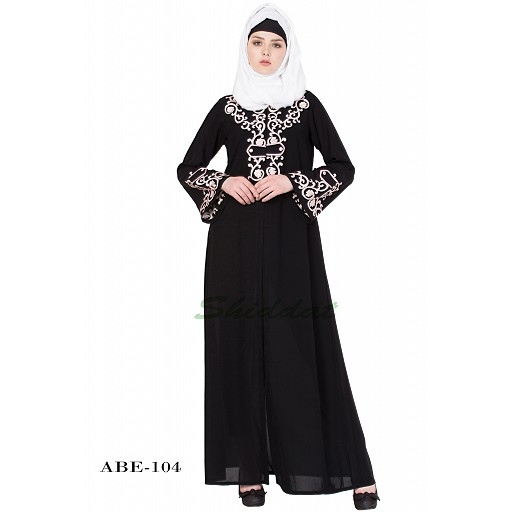Front open abaya with pink color embroidery- Black