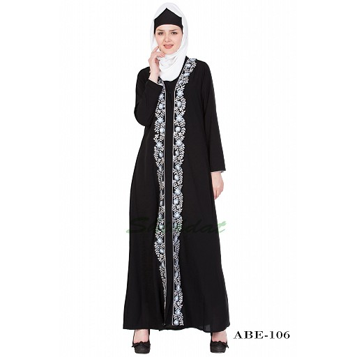 Front-open embroidery abaya