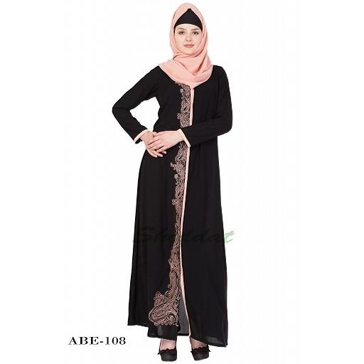 Embroidered abaya - Black & Beige