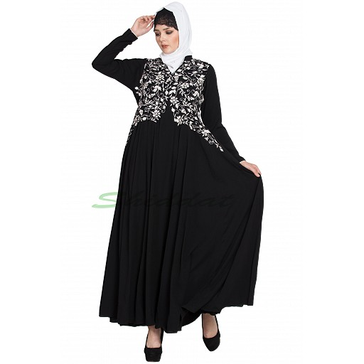 Designer abaya with embroidery and bead work