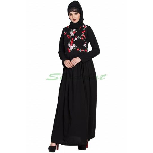 Embroidered abaya with pleated waistline