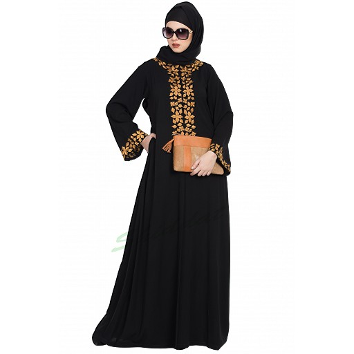 Embroidered front open abaya- Black