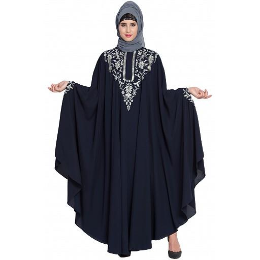 Premium embroidered Irani Kaftan- Navy Blue